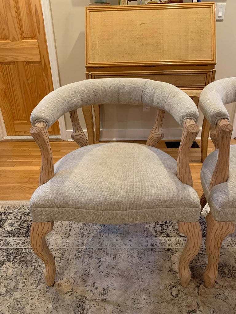 Pair of Faux Bois Bleached Armchairs For Sale 1