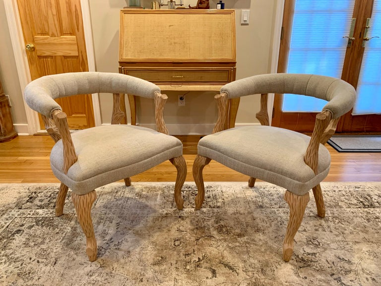 Pair of Faux Bois Bleached Armchairs For Sale 2