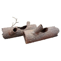 Pair of Faux Bois Iron Log Sculptures