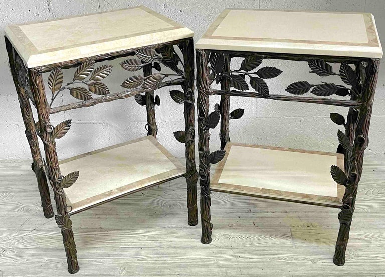 Pair of faux bois tessellated stone & wrought iron nightstands/end tables. Each one a unique work with tessellated stone tops and shelves held by a fine bronzed iron faux bois frame. Each table measures 29