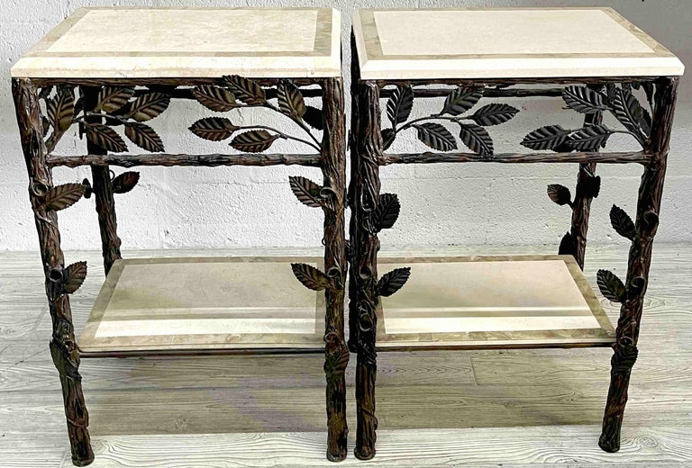 Pair of Faux Bois Tessellated Stone & Wrought Iron Nightstands/End Tables In Good Condition For Sale In West Palm Beach, FL