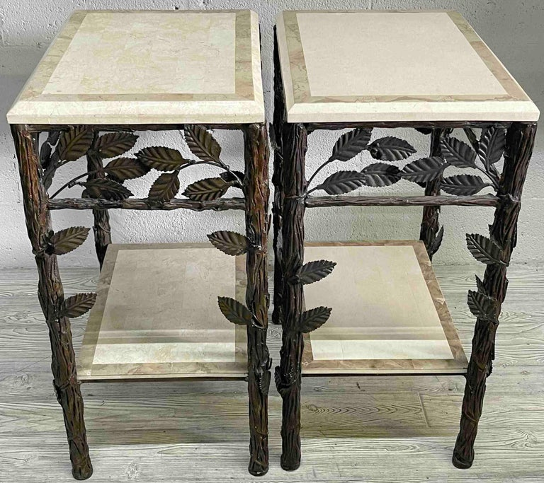 20th Century Pair of Faux Bois Tessellated Stone & Wrought Iron Nightstands/End Tables For Sale