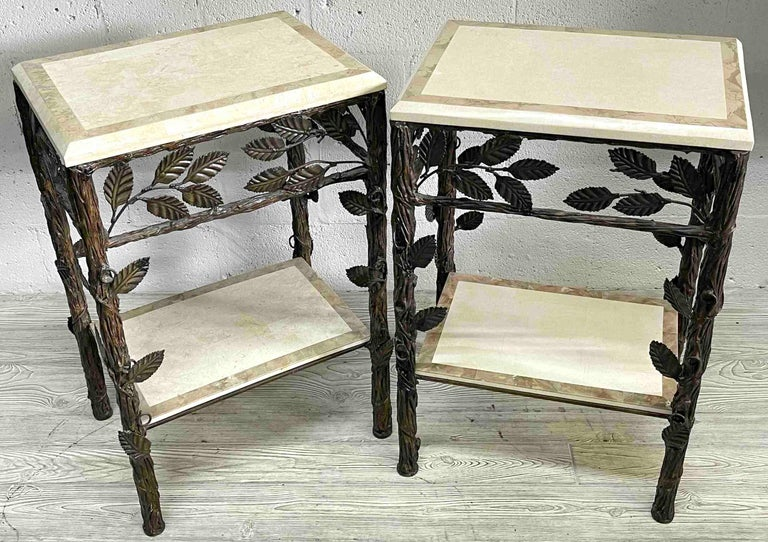 Pair of Faux Bois Tessellated Stone & Wrought Iron Nightstands/End Tables For Sale 1