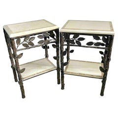 Pair of Faux Bois Tessellated Stone & Wrought Iron Nightstands/End Tables