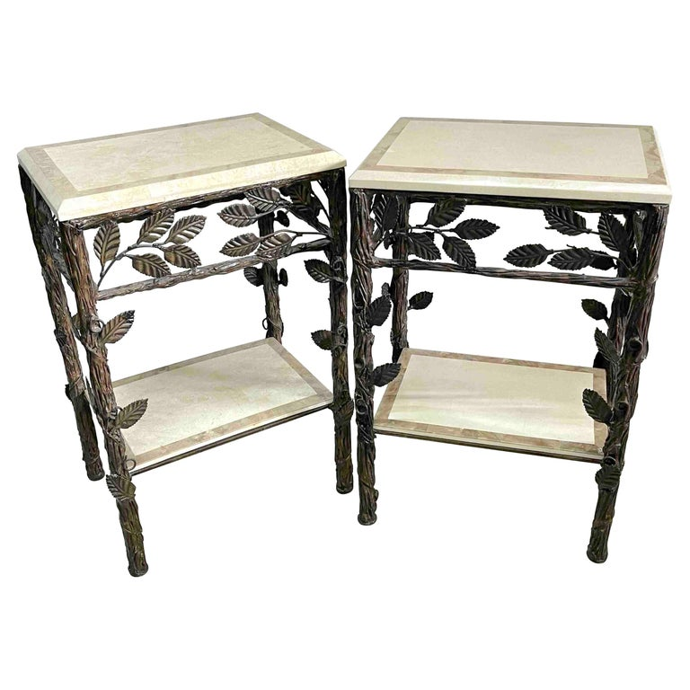 Pair of Faux Bois Tessellated Stone & Wrought Iron Nightstands/End Tables For Sale