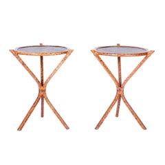 Pair of Faux Burnt Bamboo and Grasscloth Stands or Side Tables