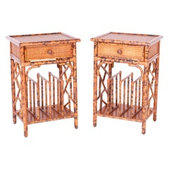 Pair of Faux Burnt Bamboo Stands or Tables