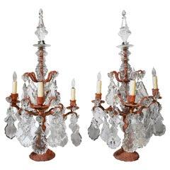 Pair of Faux Coral Bronze 4 Light Girandoles Candelabra, 19 Century