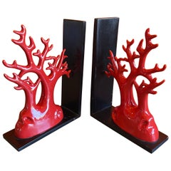 Pair of Faux Coral Ceramic Bookends