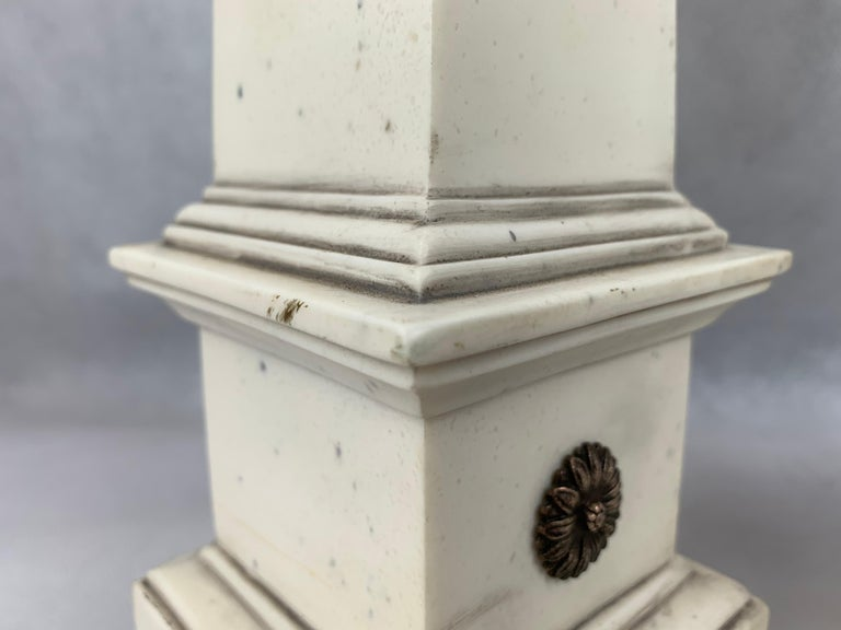 Polished Pair of Faux Ivoire Neoclassical Obelisks For Sale