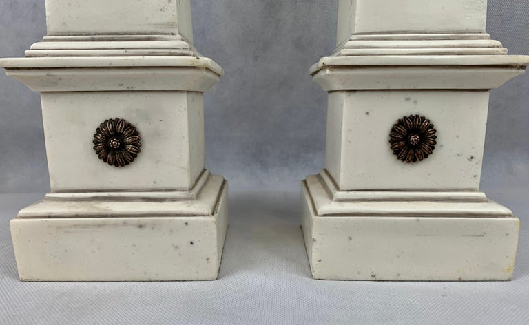 Pair of Faux Ivoire Neoclassical Obelisks In Good Condition For Sale In West Palm Beach, FL