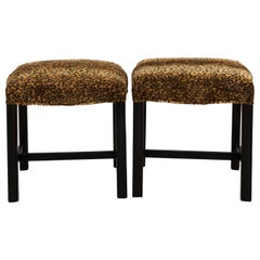 Pair of Faux Leopard Chippendale Benches