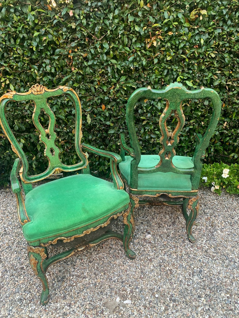 Pair of faux malachite chairs with gilt details, Georgian style armchairs with a wonderful presence. See images of some condition issues with finish, not offensive or out of character for this chair.