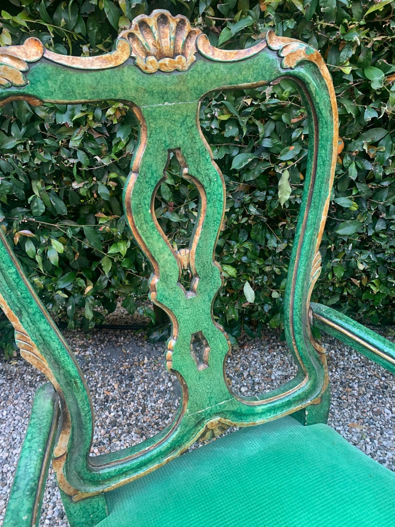 Georgian Pair of Faux Malachite and Gilt Armchairs For Sale