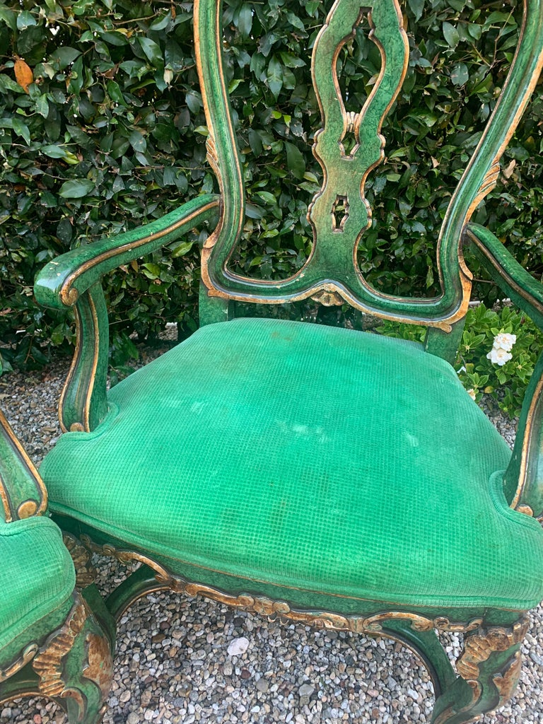 Pair of Faux Malachite and Gilt Armchairs In Good Condition For Sale In Los Angeles, CA