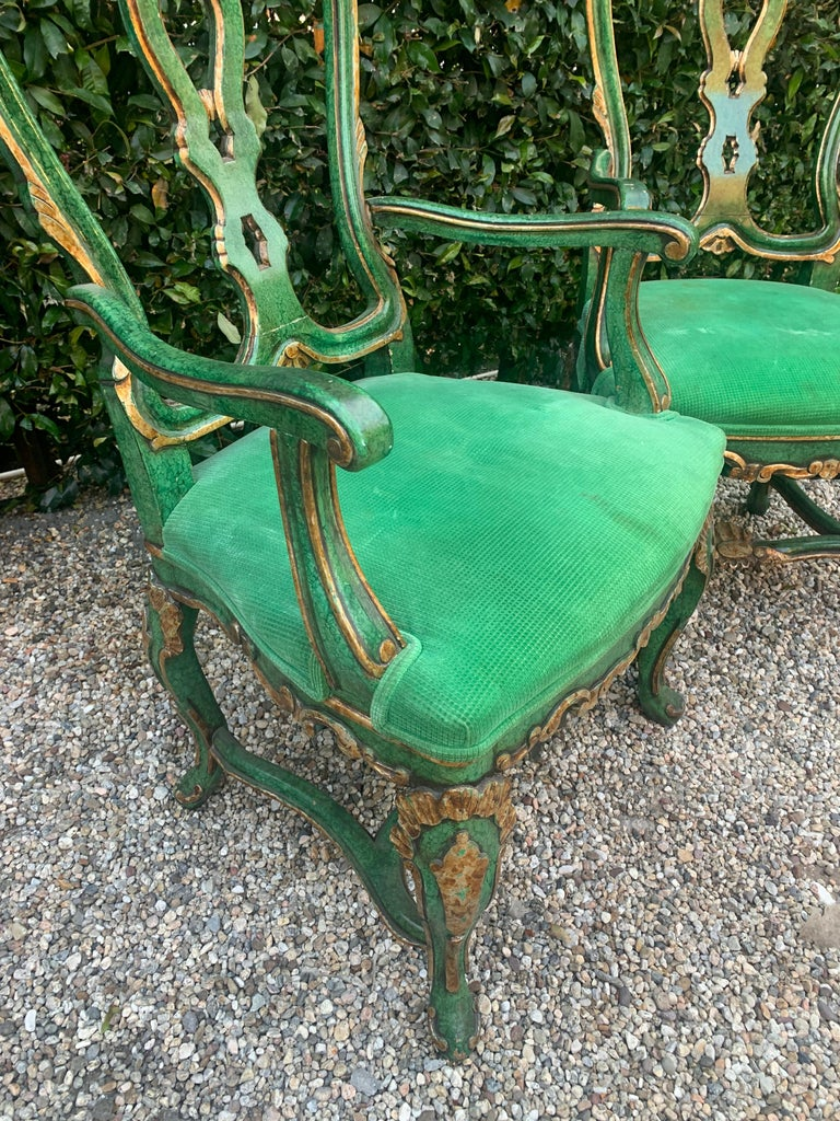 20th Century Pair of Faux Malachite and Gilt Armchairs For Sale