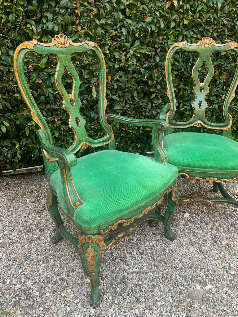 Wood Pair of Faux Malachite and Gilt Armchairs For Sale