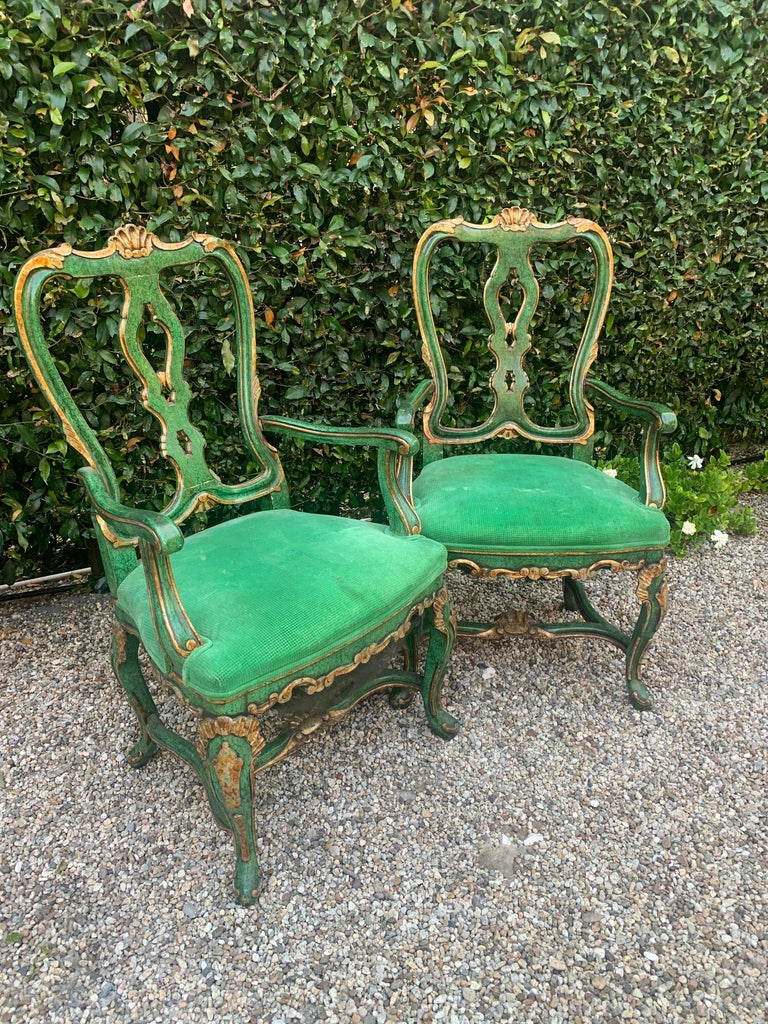 Pair of Faux Malachite and Gilt Armchairs For Sale 1