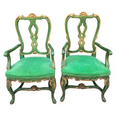 Pair of Faux Malachite and Gilt Armchairs