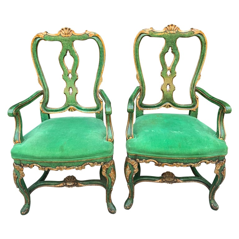 Pair of Faux Malachite and Gilt Armchairs For Sale