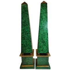 Pair of Faux Malachite Obelisks