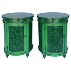 Pair of Faux Malachite Side/ Bed Side Tables