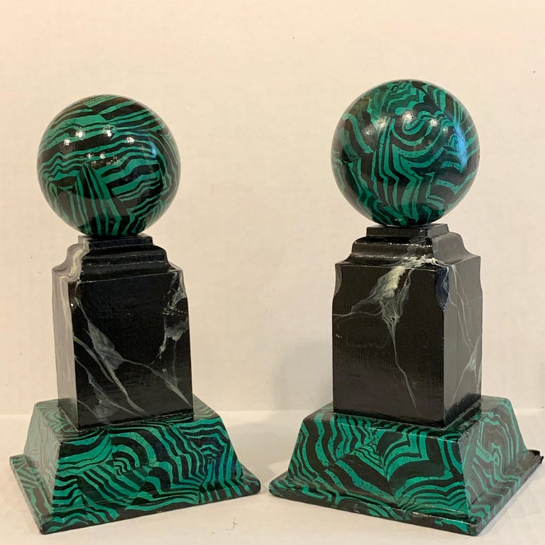 Pair of Faux Malcihite Orbs by Bob Christian, 1987 For Sale 2