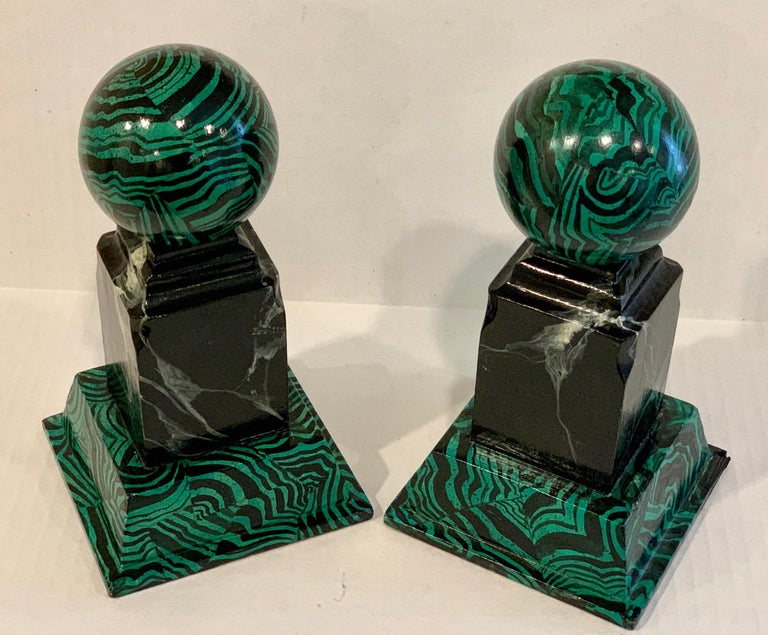 Pair of Faux Malcihite Orbs by Bob Christian, 1987 For Sale 3