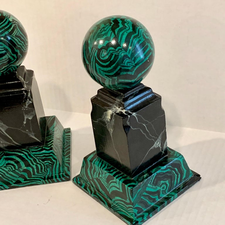 Pair of Faux Malcihite Orbs by Bob Christian, 1987 For Sale 4