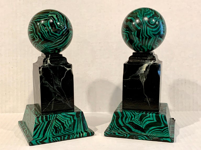 Neoclassical Pair of Faux Malcihite Orbs by Bob Christian, 1987 For Sale