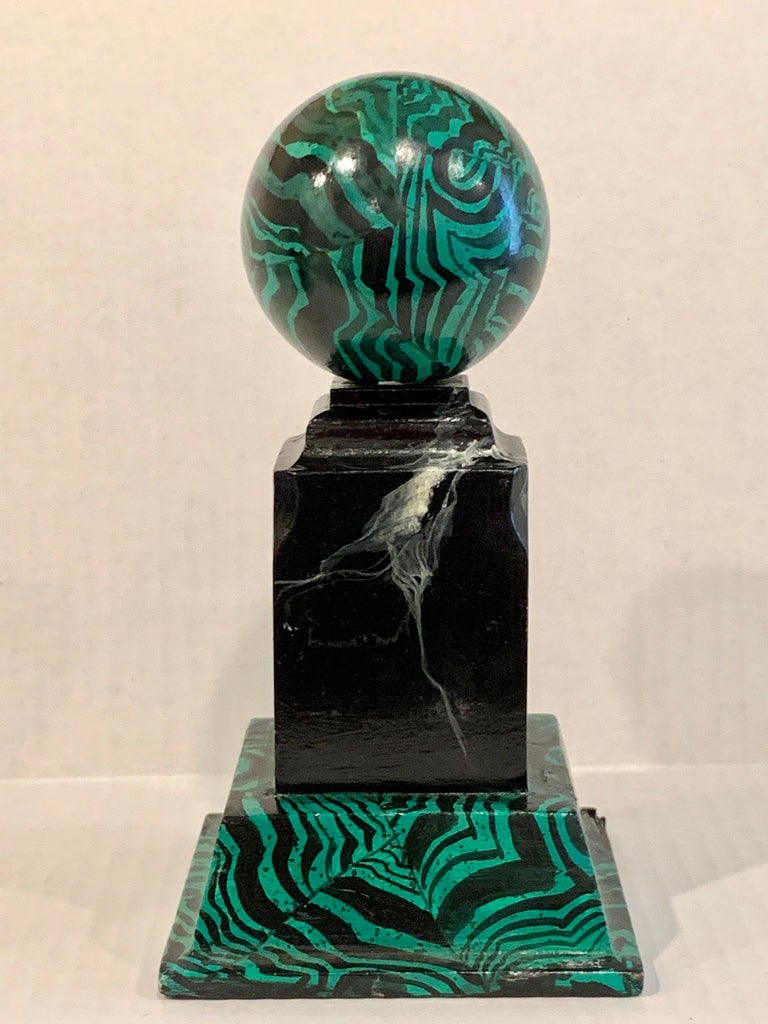 American Pair of Faux Malcihite Orbs by Bob Christian, 1987 For Sale