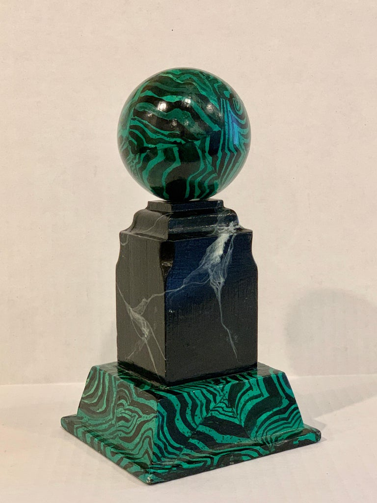 Pair of Faux Malcihite Orbs by Bob Christian, 1987 In Good Condition For Sale In Atlanta, GA