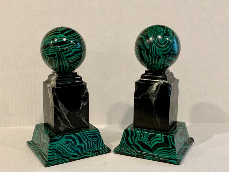 Pair of Faux Malcihite Orbs by Bob Christian, 1987 For Sale 1