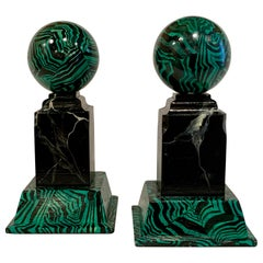 Pair of Faux Malcihite Orbs by Bob Christian, 1987