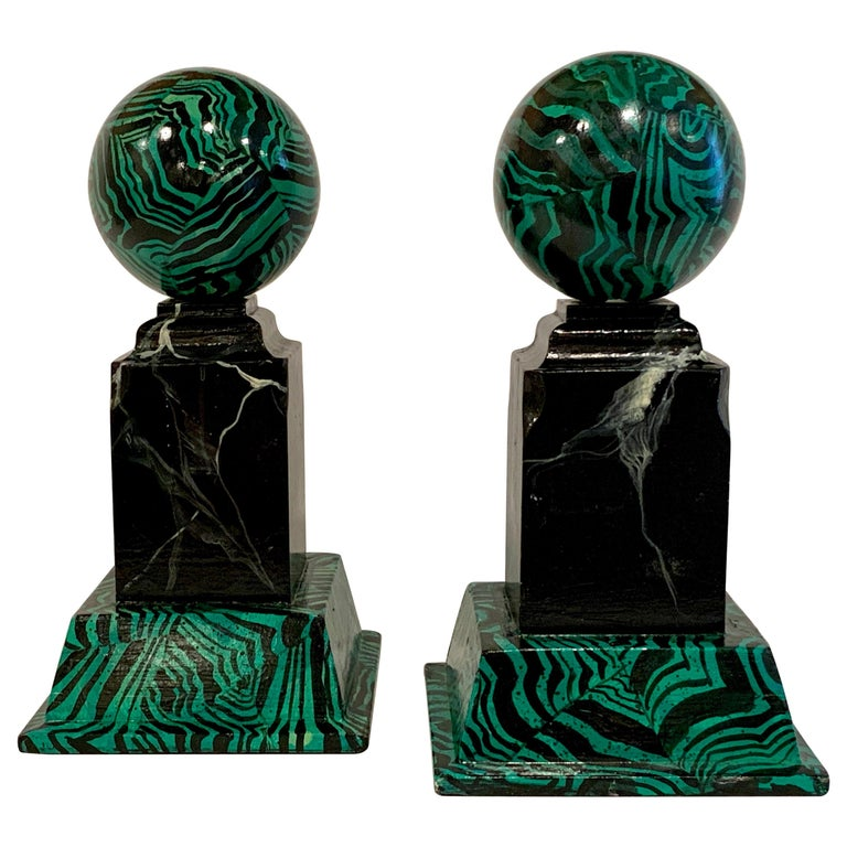 Pair of Faux Malcihite Orbs by Bob Christian, 1987 For Sale