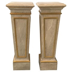 Pair of Faux Marble and Giltwood Pedestals