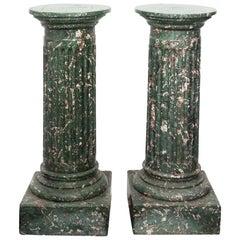Pair of Faux Marble Column Pedestals