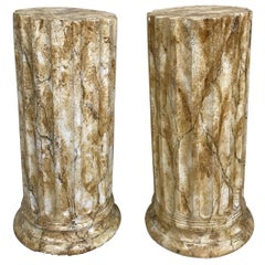 Pair of Faux Marble Painted Plaster Pedestals
