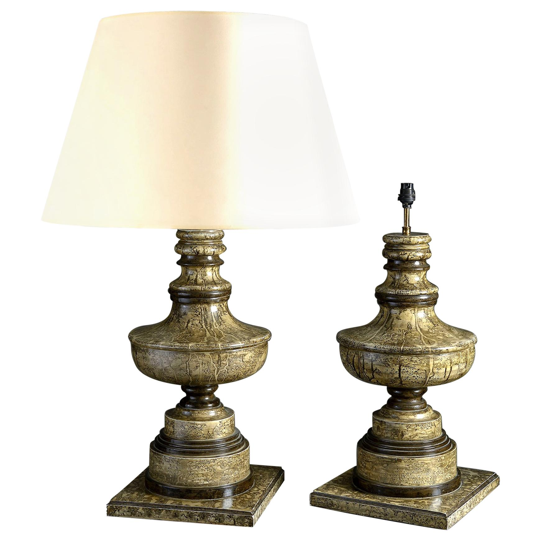 Pair of Faux Marble Painted Table Lamps of Urn Form