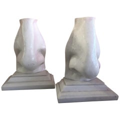 """Pair of Faux Marble Pop Art """"Nose"""" Bookends"""