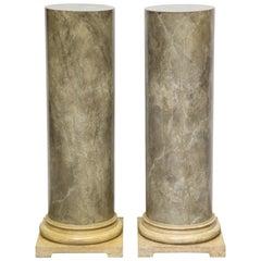 Pair of Faux Marbleized Pedestals