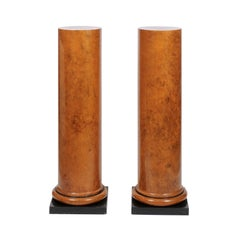 Pair of Faux Painted Art Deco Column Pedestals from the Judith Leiber Collection