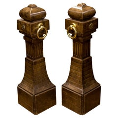 Pair of Faux Painted French Pine Opera Bollards