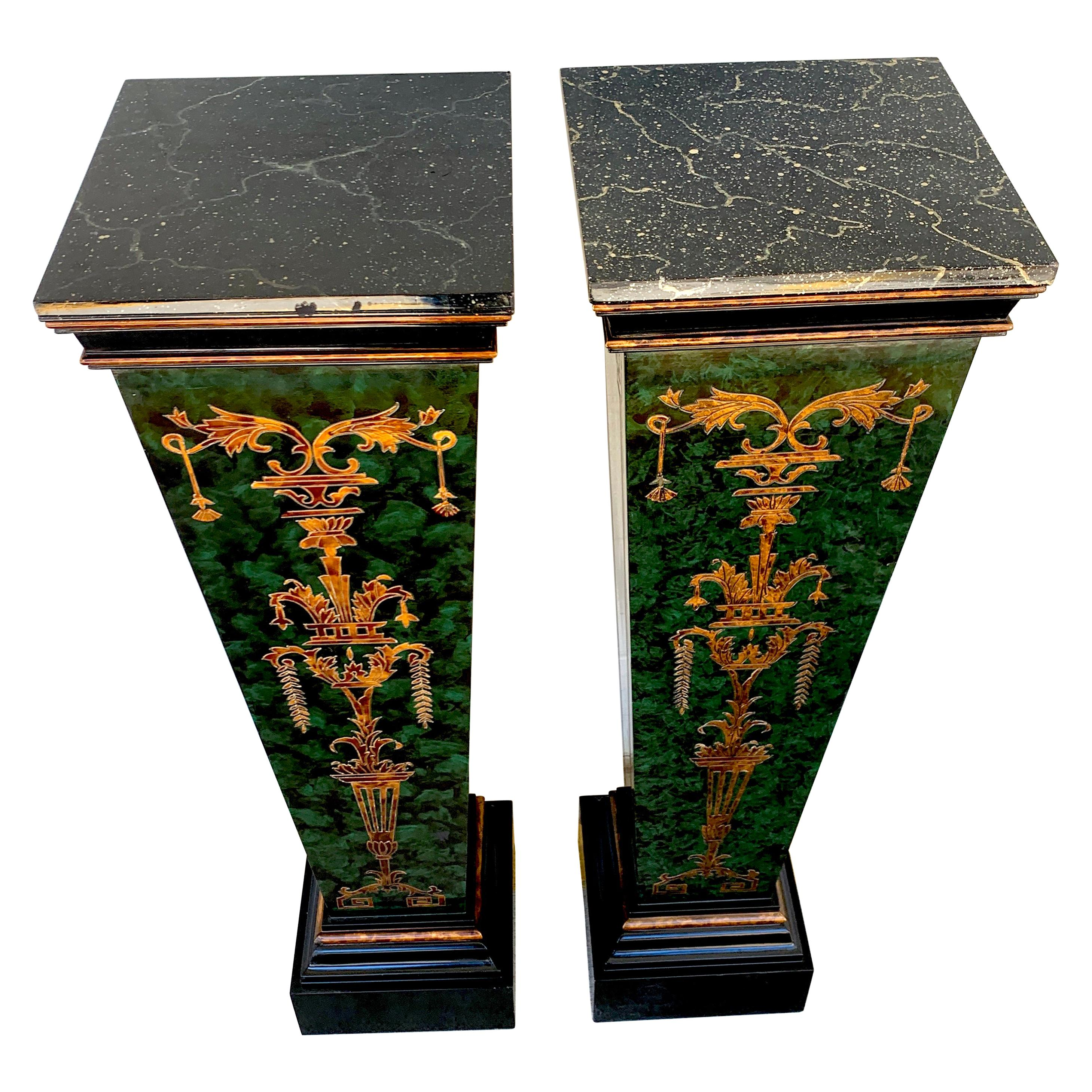 Pair of Faux Painted Green and Gilt Neoclassical Pedestals
