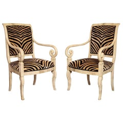 Pair of Faux Parchment Lacquered Armchairs