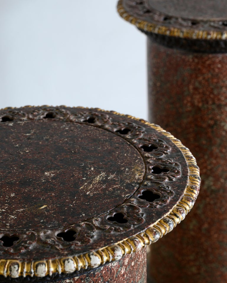 Hand-Painted Pair of Faux Porphyry and Parcel-Gilt Pedestals For Sale