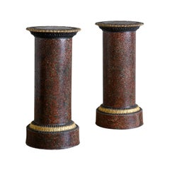 Pair of Faux Porphyry and Parcel-Gilt Pedestals