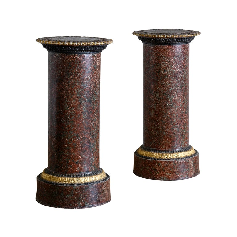 Pair of Faux Porphyry and Parcel-Gilt Pedestals For Sale