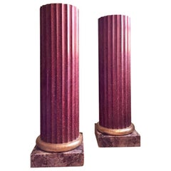 Pair of Faux Porphyry Columns/Pedestals Red with Gilt & Faux Marble Painted Base