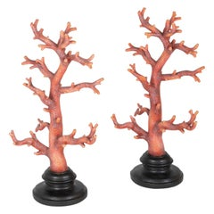 Pair of Faux Red Corals on Black Bases